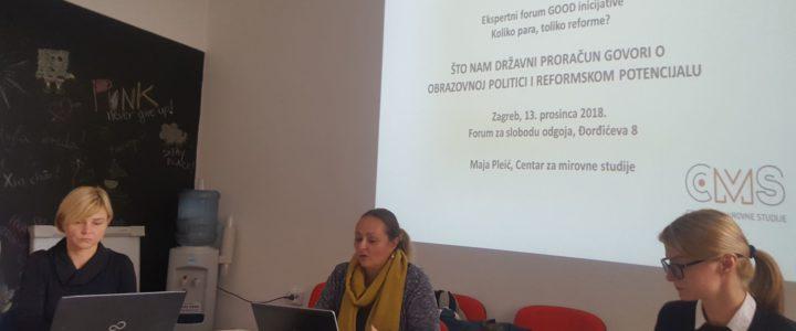 """Izvještaj s ekspertnog foruma i konferencije za medije  Ekspertni forum GOOD inicijative """"Koliko para, toliko reforme?"""""""
